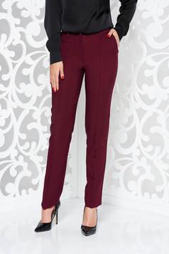 Burgundy LaDonna nadrág irodai kónikus enyhén elasztikus szövet zsebes