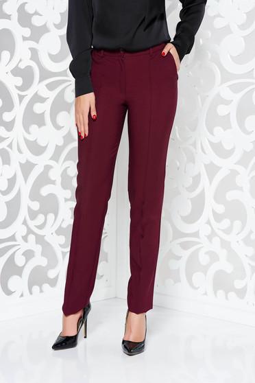 Burgundy LaDonna irodai kónikus nadrág enyhén elasztikus szövet zsebekkel