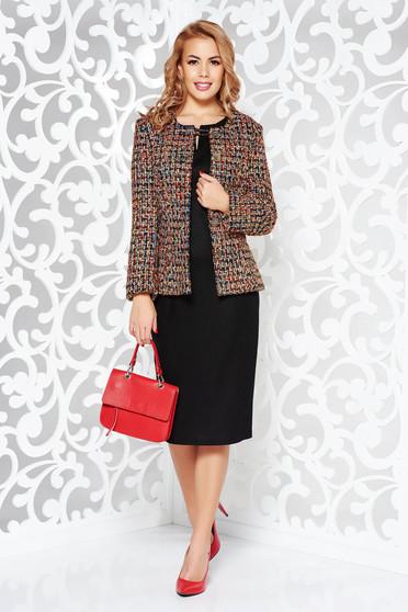 Fekete irodai szövet női kosztüm belső béléssel
