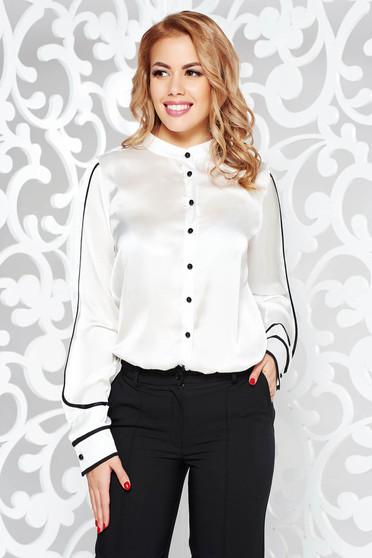 Fehér PrettyGirl női ing elegáns bő szabású szatén anyagból hosszú ujjak