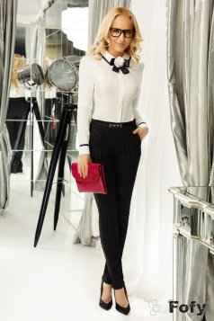 Fehér Fofy női ing irodai szűk szabás bross kiegészítővel