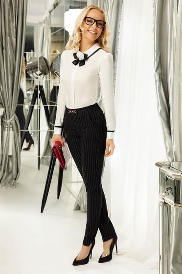 Fekete Fofy nadrág irodai kónikus rugalmatlan szövet fémes kiegészítő zsebes