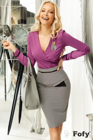 Fofy lila irodai női ing szűk szabás enyhén elasztikus pamut v-dekoltázzsal