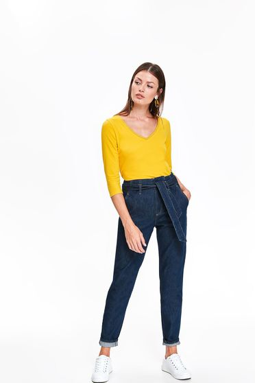 Kék Top Secret casual magas derekú nadrág pamutból készült övvel ellátva