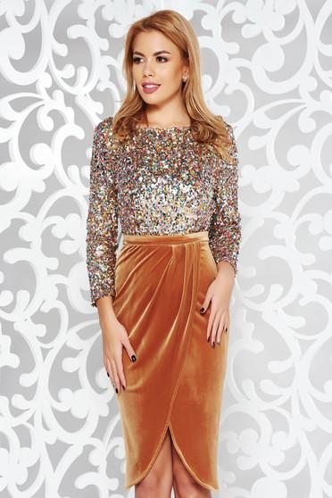 Mustar StarShinerS ruha alkalmi szűk szabás bársony belső béléssel flitter