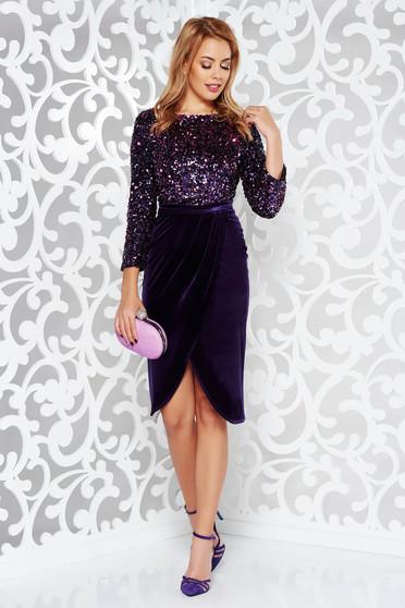 Lila StarShinerS ruha alkalmi szűk szabás bársony belső béléssel flitter