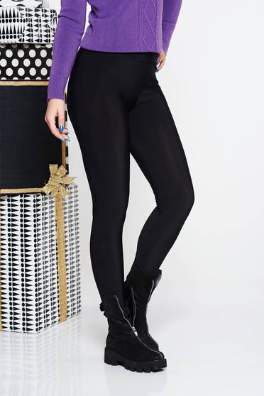 Fekete PrettyGirl casual jégernadrág szűk szabás magas derekú rugalmas anyag