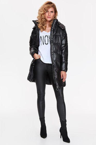 Fekete Top Secret dzseki casual vízhatlan belső béléssel a kapucni nem távolítható el