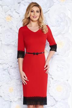 Piros alkalmi midi ruha csipkés anyag fodros 364ed37d7c