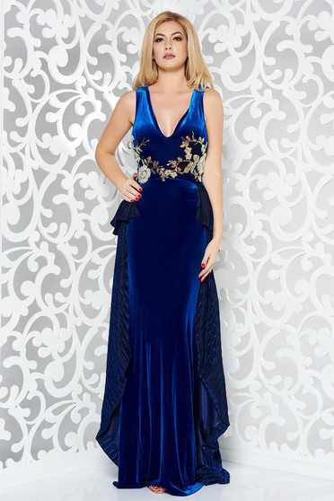 Kék StarShinerS alkalmi szirén tipusú bársony ruha hímzett betétekkel