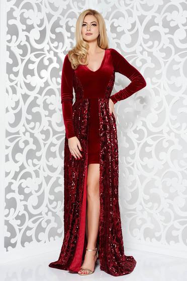 Piros StarShinerS alkalmi ruha szűk szabás v-dekoltázzsal bársony flitterrel