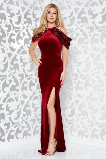 Piros StarShinerS ruha alkalmi bársony szirén tipusú flitteres díszítés