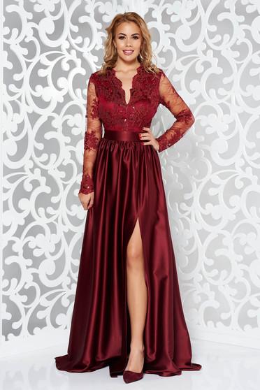Burgundy Artista alkalmi ruha szatén anyagból szivacsos mellrész csipkés  anyag v-dekoltázzsal 660a4a623e