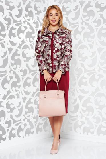 Burgundy női kosztüm elegáns rugalmatlan szövet