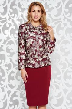 Burgundy elegáns női kosztüm rugalmatlan szövet