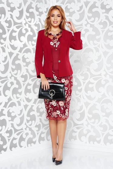Burgundy elegáns női kosztüm csipkés anyag