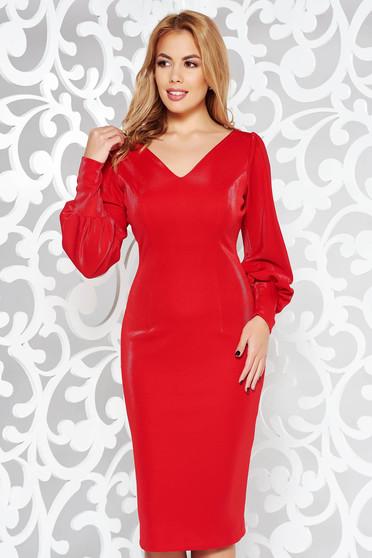 Piros ruha elegáns ceruza enyhén rugalmas anyag belső béléssel v-dekoltázzsal