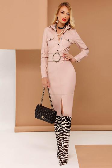 Rózsaszínű PrettyGirl szoknya ceruza műbőr belső béléssel magas derekú övvel ellátva