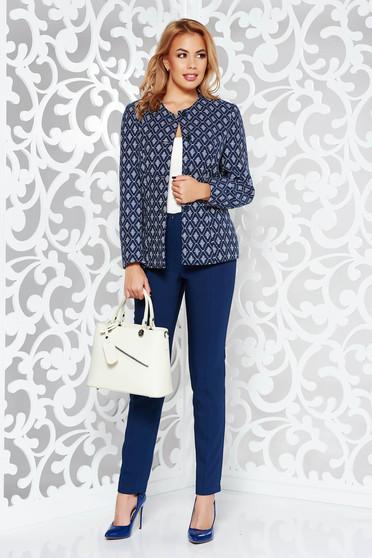 Sötétkék női kosztüm irodai nem elasztikus pamut belső béléssel normál derekú