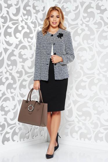 Fekete női kosztüm irodai rugalmatlan szövet belső béléssel