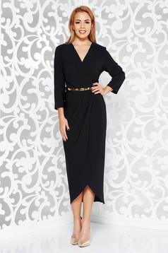 Fekete ruha elegáns enyhén rugalmas szövet belső béléssel öv típusú kiegészítővel