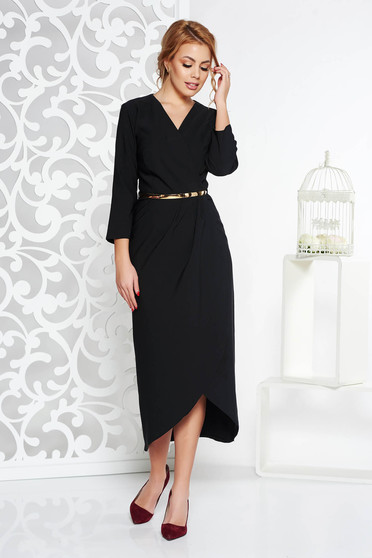 Fekete elegáns ruha enyhén rugalmas szövet belső béléssel öv típusú kiegészítővel