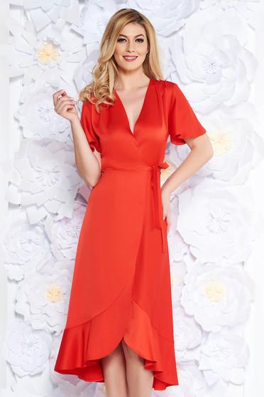 Piros alkalmi ruha átfedéses rugalmatlan anyag fodrok a ruha alján c70f399748
