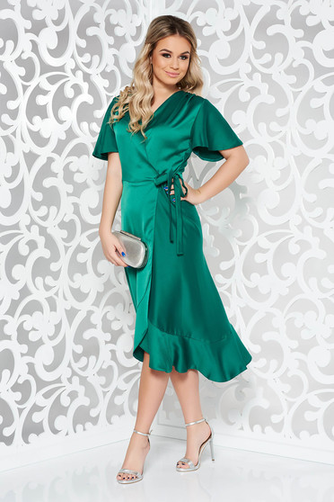 Zöld ruha alkalmi átfedéses rugalmatlan anyag fodrok a ruha alján