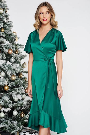 Zöld alkalmi ruha átfedéses rugalmatlan anyag fodrok a ruha alján