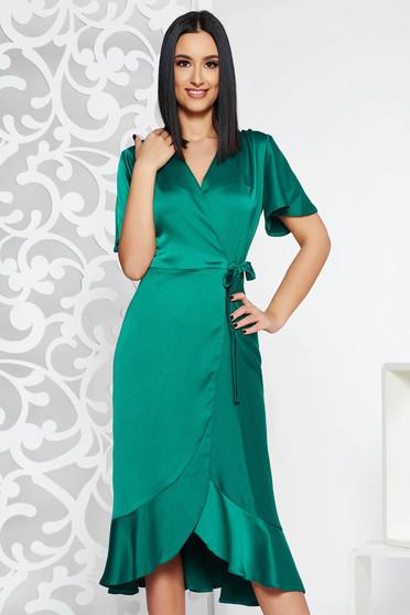 Zöld alkalmi ruha átfedéses rugalmatlan anyag fodrok a ruha alján 590d747df7