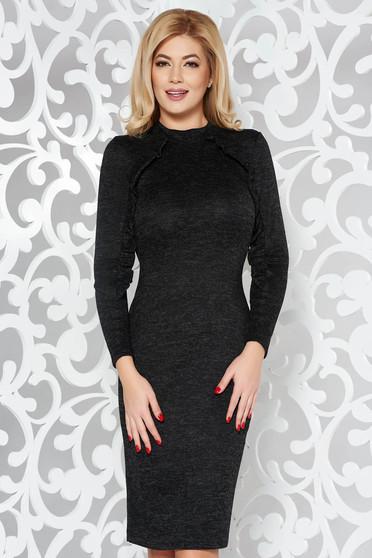 Fekete StarShinerS hétköznapi ruha szűk szabás kötött anyag fodros