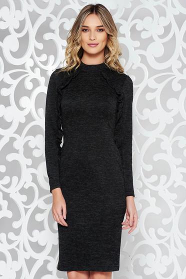 Fekete StarShinerS hétköznapi ruha szűk szabás kötött anyag fodros 523d8adf62