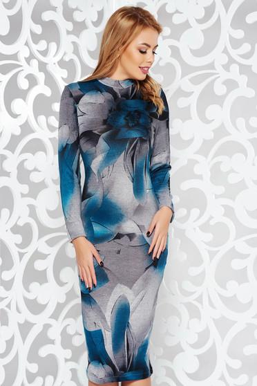 Türkiz StarShinerS ruha casual midi magasnyakú kötött anyag hosszú ujjak szűk szabás