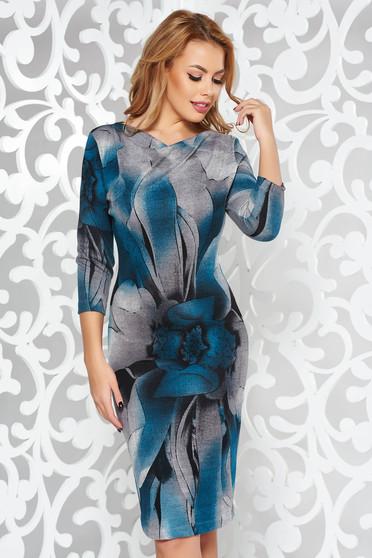 Türkiz StarShinerS ruha hétköznapi kötött anyag szűk szabás háromnegyedes ujjú