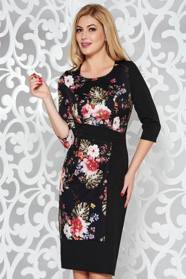 ccca142bb8 Fekete ruha elegáns ceruza enyhén rugalmas szövet virágmintás díszítéssel