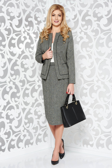 Szürke irodai gyapjú női kosztüm belső béléssel