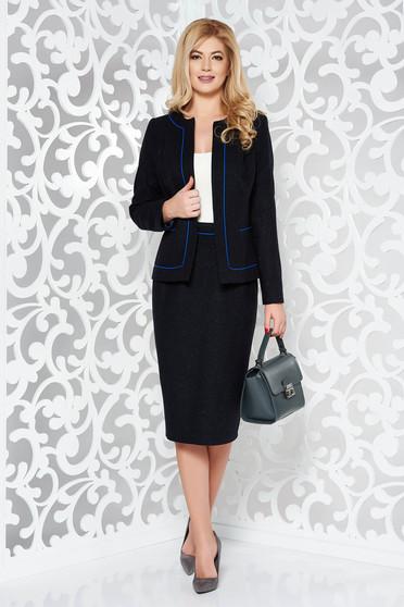 Fekete irodai gyapjú női kosztüm belső béléssel