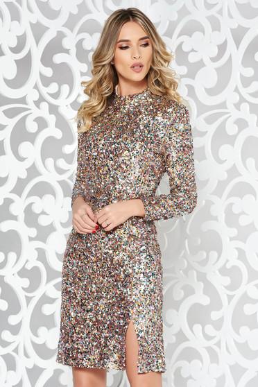 Rózsaszínű StarShinerS alkalmi flitteres ruha szűk szabás belső béléssel magasnyakú hosszú ujjú