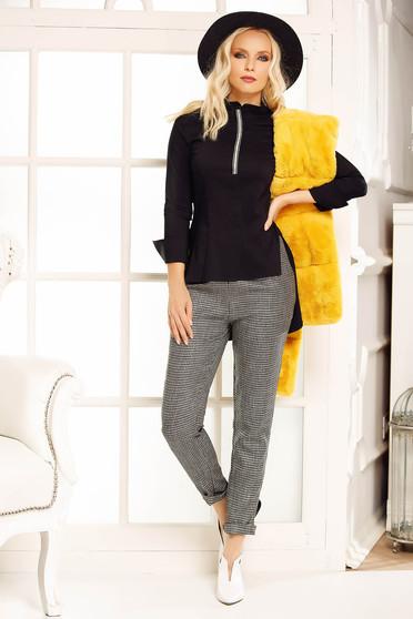Fekete Fofy női ing casual bő szabású enyhén elasztikus pamut asszimmetrikus szabással hosszú ujjak