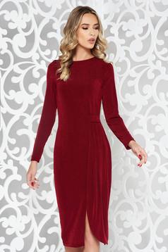 Burgundy StarShinerS ruha alkalmi rugalmas anyag szűk szabás hosszú ujjú