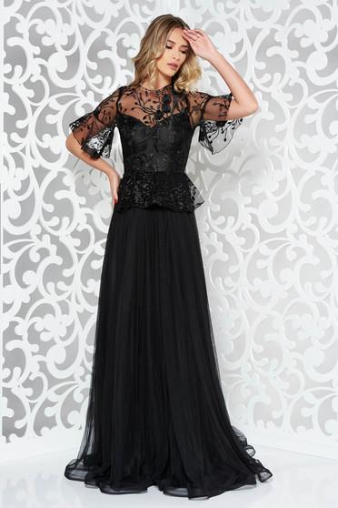 Fekete Ana Radu hímzett tüll harang ruha