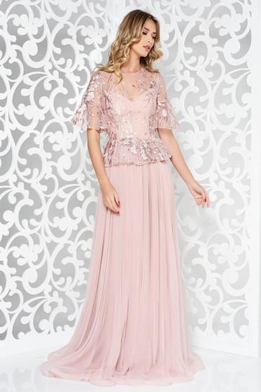 Rózsaszínű Ana Radu hímzett tüll harang ruha csipkés anyag derekán fodros hosszú
