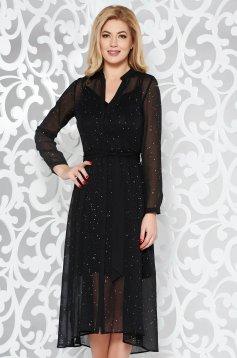 Fekete elegáns harang ruha áttetsző anyag csillogó kiegészítők övvel ellátva