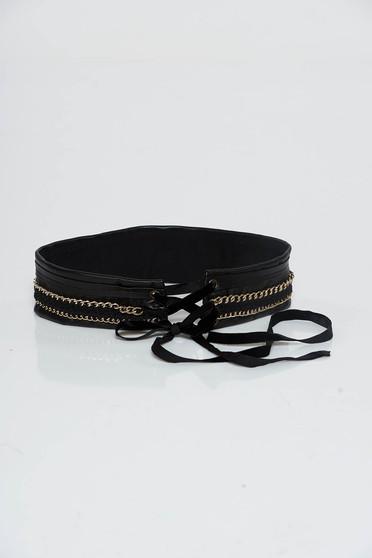 Fekete StarShinerS öv műbőr zsinórral köthető fém díszítések