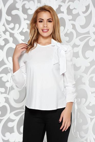 93c6c54287 Fehér StarShinerS női blúz casual bő szabású nem elasztikus pamut kockás  anyag masni díszítéssel