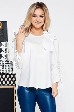 Fehér StarShinerS casual bő szabású női blúz nem elasztikus pamut masni díszítéssel