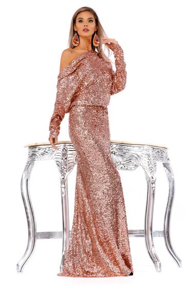 Világos rózsaszín alkalmi flitteres ruha szirén tipusú kivágott hátrésszel hosszú ujjakkal