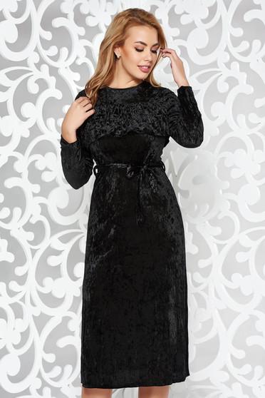 Fekete ruha alkalmi midi bársony derékban rugalmas övvel ellátva