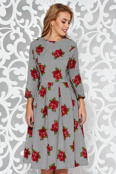 Piros elegáns harang ruha enyhén elasztikus pamut virágmintás díszítéssel
