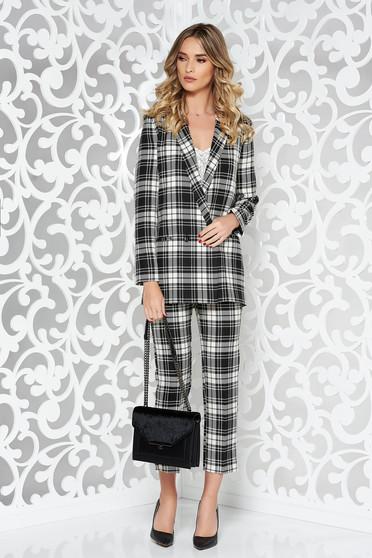 Fekete StarShinerS női kosztüm irodai finom tapintású anyag kockás anyag egyenes szabás magas derekú